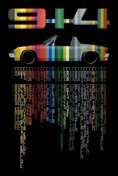 Porsche 914 in factory colors and codes. Full color Giclee.