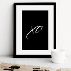 "Typography Print ""XO"" Hugs and Kisses. Black & White Prints. Simple. home decor, xo art print, minimal xo prints, xo poster, black white xo"