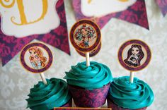 Ever After High Cupcake Toppers and Wrappers - Birthday Party Printable Cupcake Decoration Templates (Instant Download)