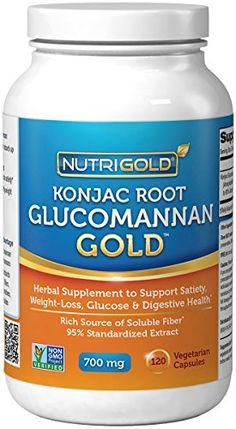 NutriGold Glucomannan GOLD, Konjac Root Fiber for Weight-loss, 700mg, 120 Vegetarian Capsules