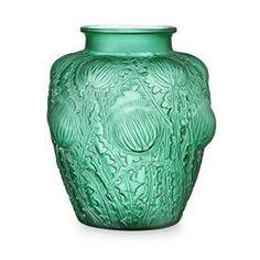 RENÉ LALIQUE (1860-1945) 'DOMRÉMY' GREEN GLASS VASE, NO. 979, DESIGNED 1926 21.4cm high