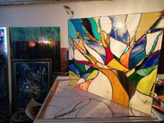 Vitralii decorative Modern, Painting, Trendy Tree, Painting Art, Paintings, Painted Canvas, Drawings