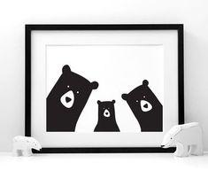Family Bear 'Selfie' Portrait, Build Your Own, A3 Print