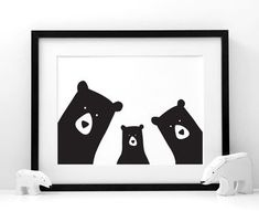 Family Bear 'Selfie' Portrait, Build Your Own, A3 Print
