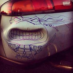 Car art - great use of a dent