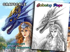 PRINTABLE Coloring Page, Grayscale. Etsy shop. Art by Alena Lazareva