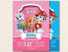 Paw Patrol Invitation - Skye - Marshall Customizable Paw Patrol Birthday Party Invite - Marshall - pink invitation - girl invitation by PartyCity74 on Etsy