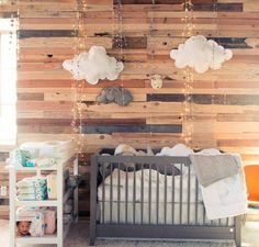 Bedroom , Adorable Baby Bedrooms : Baby Bedrooms With Wood Paneling Walls And Cloud Accessories And String Lights And Grey Crib