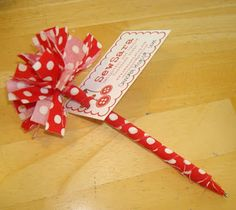 @: fabric flower pens with card attached