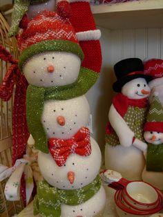 Styrofoam snowmen christmas decorations x mas holidays snowman
