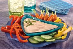 Ginger Berry Dip- Enjoy delicious vegetable nutrition with this delightful recipe that features sliced fresh vegetables served with a tasty dip made from V8 V-Fusion Strawberry Banana, grated fresh ginger, nonfat sour cream and nonfat mayonnaise.