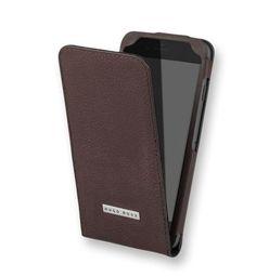 Oryginalne skórzane designerskie etui na telefon z klapką Hugo Boss Flip Case - brązowe - iPhone 6