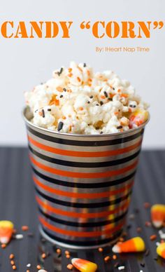 """Candy """"corn"""" {popcorn} on iheartnaptime.net -ONLY 3 ingredients, making it not only delicious, but super EASY!"""