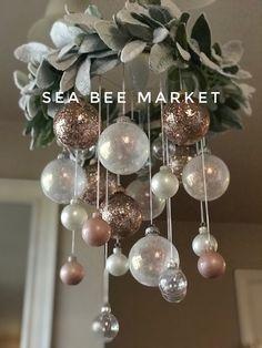 Noel Christmas, Pink Christmas, Diy Christmas Ornaments, Simple Christmas, All Things Christmas, Holiday Crafts, Christmas Salon, Diy Christmas Wedding, Minimal Christmas
