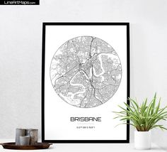 Brisbane Map Print - City Map Art of Brisbane Australia Poster - Coordinates Wall Art Gift - Travel Map - Office Home Decor by LineArtMaps on Etsy https://www.etsy.com/au/listing/257841506/brisbane-map-print-city-map-art-of