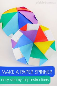 Make a paper spinner - easy step by step instructions to make this cool origami paper spinner