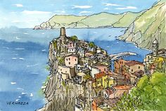 Vernazza  Italy art print from an original watercolor by AndreVoyy
