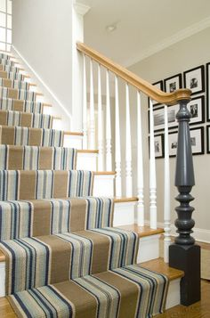 Our Blue Heron Stripe rug...traditional staircase by Judy Cook Interiors, LLC.
