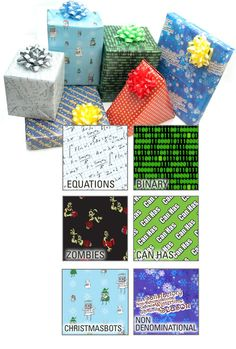 ThinkGeek :: Geeky Wrapping Paper.  I especially like the Happy Birthday written in sci fi/fantasy languages and the non-denominational one.