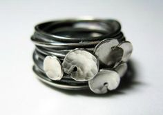 Honeybourne Jewellery Oxidized Sterling Silver Strand Lilypad Rings