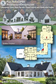 House Plan 144003PRH gives you 2,900+ square feet of living space with 3-4 bedrooms and 2.5 baths. AD House Plan #144003PRH #adhouseplans #architecturaldesigns #houseplans #homeplans #floorplans #homeplan #floorplan #houseplan Best House Plans, Country House Plans, Dream House Plans, Modern House Plans, House Floor Plans, My Dream Home, Retirement House Plans, Modern Floor Plans, Lake House Plans