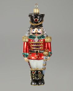 """Nutcracker"" Christmas Ornament by Jay Strongwater at Neiman Marcus."