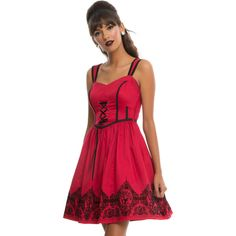 Red Black Velvet Print Border Ball Gown Dress Hot Topic ($38) via Polyvore featuring red slip and cotton slip