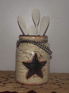 Primitive Style Country Farmhouse Decor Spoon Holder Black Star | eBay