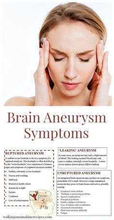 Signs and symptoms of a brain aneurysm featured on Walking on Sunshine.