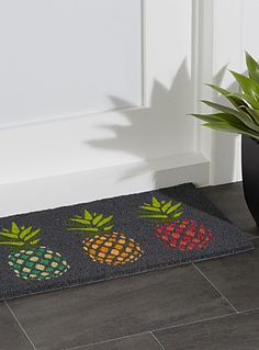 Exclusively from Simons Maison A popular pattern this season, exotic fruits are printed in dazzling colourful accents Coconut fibres with non-slip pvc backing Easily wipes clean with a damp cloth 40 x 70 cm Flamingo Baby Shower, Peonies And Hydrangeas, Vintage Centerpieces, Antique Fans, Large Candle Holders, Pineapple Design, Exotic Fruit, Home Decor Accessories, Accent Colors