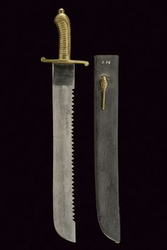"1/2/3] Faschinenmesser short-sword with saw-back, Prussia, second quarter of the 19th century. Single edged blade with saw-back, marked ""1831"" at the back of the tang [#3]; brass hilt in one piece [#2], quillon with straight arms, with lobed and counter-curved ends, grooved-grip with fake cap provided with a large, roundish button. Dimensions: lenght 65 cm."