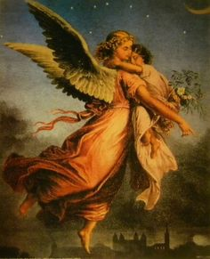 No Title (Guardian Angel with Child) | Old and Vintage Prints