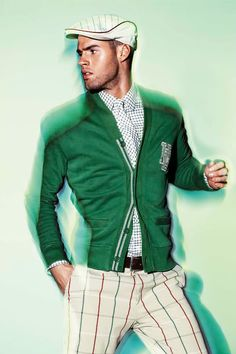 Hugo Boss outfit in green.