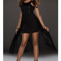 vestido de noche negro de las mujeres con el oro clava vestidos detalle – USD $ 16.19