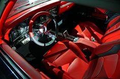 chevrolet performance slammer 69 chevelle black grey red interior custom console door panels dash