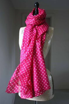 """accessorise your fav. summer outfit with this beautiful cotton Mint scarf/sarong.. in fuschia pink polka dots  approx size 42"""" wide x 72"""" long"""