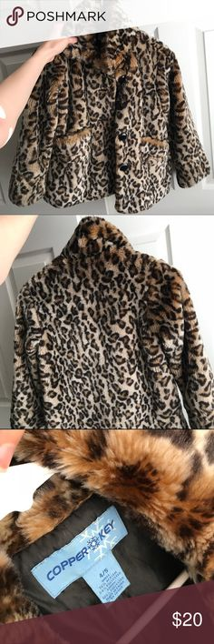 kids faux fur leopard print coat with buttons perfect for winter or fall, a faux vegan fur leopard coat for any kid! very warm and dressy but still comfy!! perfect if your kid is a little fashionista:) no stains/marks/etc Copper Key Jackets & Coats