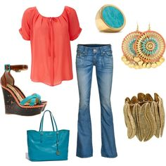 Orange and Turquoise, created by danielle-spakes dspakes904