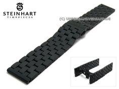 Uhrenarmband STEINHART 22mm schwarz Edelstahl massiv Butterflyfaltschließe - Bild vergrößern