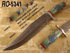Handmade Damascus steel bowie knife
