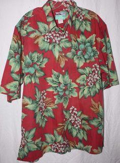 REYN SPOONER HAWAIIAN MEN XL SHORT SLEEVE BUTTON SHIRT RED COTTON FLORAL HAWAII #ReynSpooner #Hawaiian