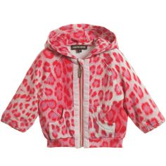 Roberto Cavalli Pink Leopard Hooded Zip-Up Top at Childrensalon.com