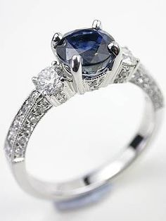 Antique Style Sapphire Engagement Ring, RG-3341a, Topazery | This regal antique style sapphire engagement ring blends breathtaking color with diamond shimmer.