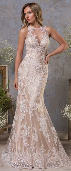 Attractive Tulle Jewel Neckline Natural Waistline Mermaid Wedding Dress With Lace Appliques