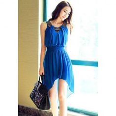 $13.31 Sleeveless Scoop Neck Bohemian Style Chiffon Irregular Dress For Women @Brittany Purdy