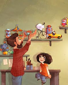 toymaker whose toys come to life - by Aurélie Neyret © Children's Book Illustration, Character Illustration, Illustration Mignonne, Art Fantaisiste, Art Mignon, Illustrations And Posters, Whimsical Art, Cute Art, Art For Kids