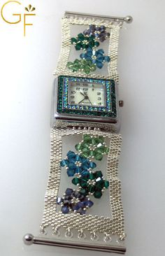 Watch Silver With Green Swarovski Beads by GalitFinorJewelry, $79.00