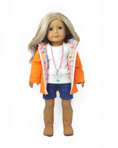 """Download Now - SEWING PATTERN 18"""" Cut and Paste Reversible Doll Jacket"""