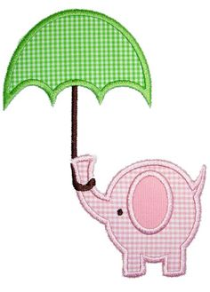Umbrella Elephant Applique Design