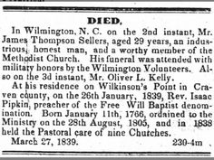 James Thompson Sellers obituary Weekly Standard Raleigh, NC 10 April 1839.